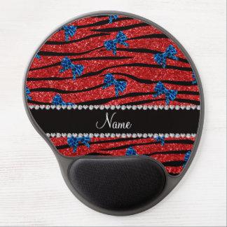 Custom name red zebra stripes blue bows gel mousepad