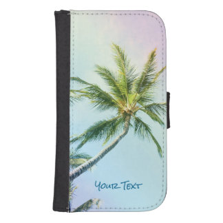 Custom Name Relaxing Rainbow Color Palms Samsung S4 Wallet Case