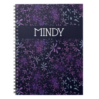 Custom Name Retro Purple Daisies Flower Notebook