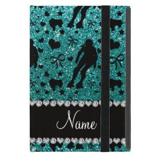 Custom name robin egg blue glitter roller derby cases for iPad mini