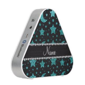 Custom name robin egg blue glitter stars and moons bluetooth speaker