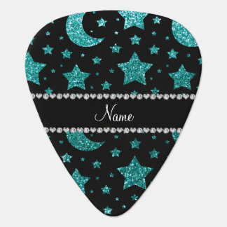 Custom name robin egg blue glitter stars and moons plectrum