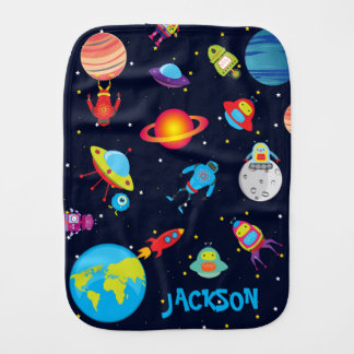 Custom Name Robots in Outer Space Burp Cloth