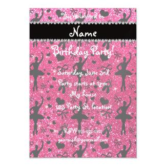 Custom name rose pink glitter ballerinas magnetic invitations