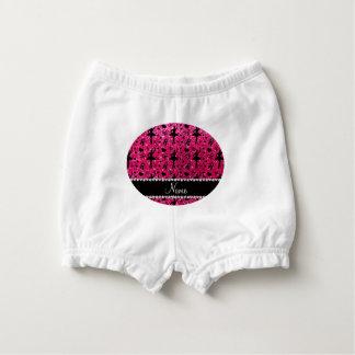 Custom name rose pink glitter ballerinas nappy cover
