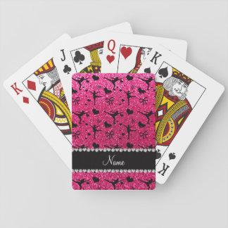 Custom name rose pink glitter figure skating playing cards