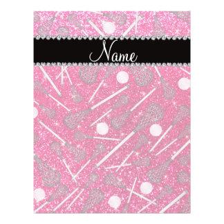 Custom name rose pink glitter lacrosse sticks personalized flyer
