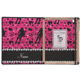 Custom name rose pink glitter roller derby case for iPad