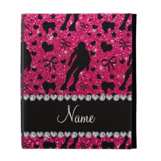 Custom name rose pink glitter roller derby iPad folio cover