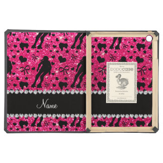 Custom name rose pink glitter roller derby cover for iPad air