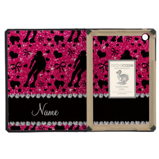 Custom name rose pink glitter roller derby iPad mini cover