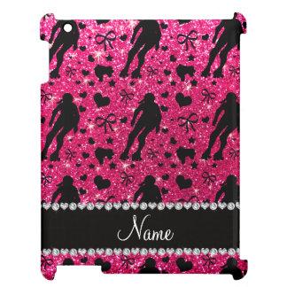 Custom name rose pink glitter roller derby iPad cases