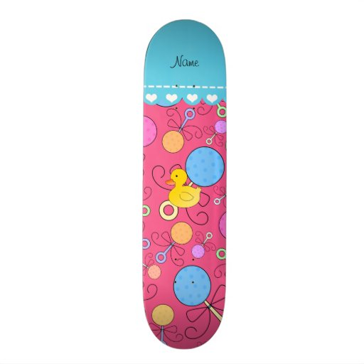 Custom name rubber duck pink baby rattles skate boards