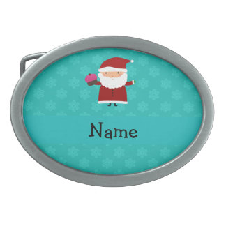 Custom name santa cupcake turquoise snowflakes belt buckles