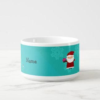 Custom name santa cupcake turquoise snowflakes chili bowl
