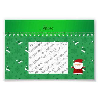 Custom name santa green santa hats snowflakes photo print