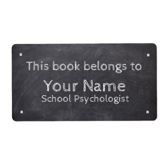 Custom Name School Psychologist Chalkboard Labels