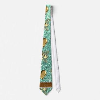 Custom name seafoam green glitter gold roses heart tie