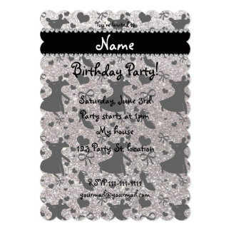Custom name silver glitter ballroom dancing invite
