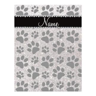 Custom name silver glitter black dog paws full color flyer