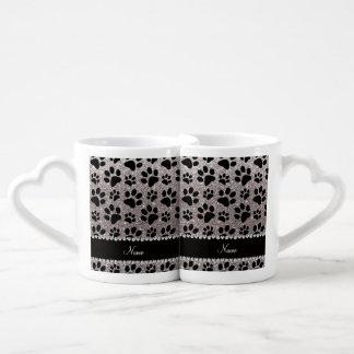 Custom name silver glitter black dog paws couples mug
