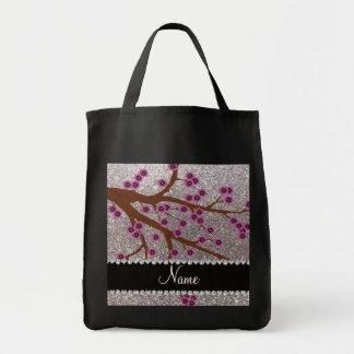 Custom name silver glitter cherry blossoms bag