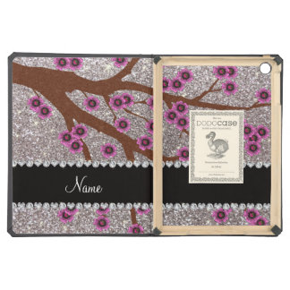 Custom name silver glitter cherry blossoms iPad air case