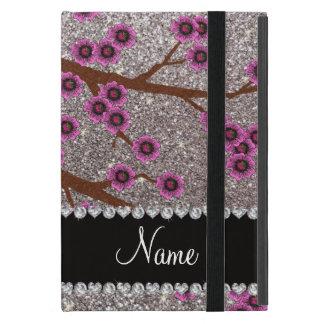 Custom name silver glitter cherry blossoms case for iPad mini