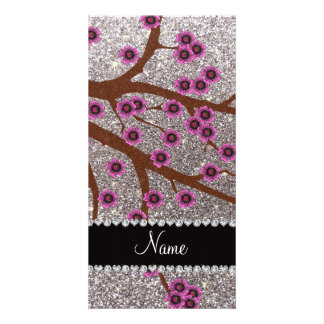 Custom name silver glitter cherry blossoms photo card