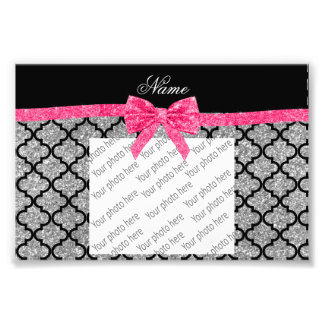 Custom name silver glitter moroccan pink bow photo