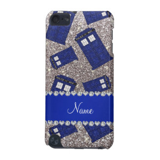 Custom name silver glitter police box iPod touch 5G covers