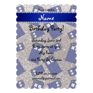 "Custom name silver glitter police box 5"" x 7"" invitation card"
