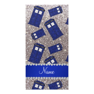 Custom name silver glitter police box photo greeting card