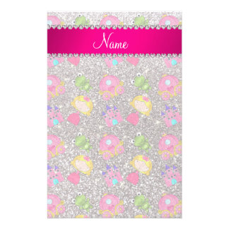Custom name silver glitter princess frogs personalized stationery