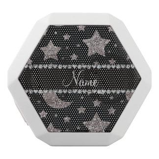 Custom name silver glitter stars and moons
