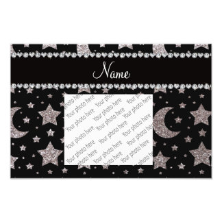 Custom name silver glitter stars and moons photograph