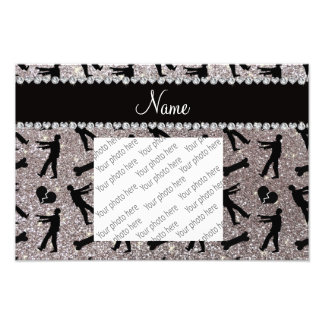 Custom name silver glitter zombies photographic print