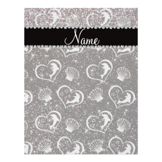 Custom name silver hearts dolphins black glitter 21.5 cm x 28 cm flyer