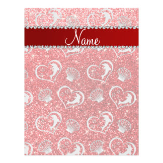 Custom name silver hearts dolphins red glitter 21.5 cm x 28 cm flyer