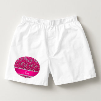 Custom name silver infinity neon hot pink glitter boxers