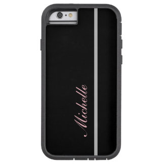 Custom Name Silver Thin Vertical Line on Black Tough Xtreme iPhone 6 Case