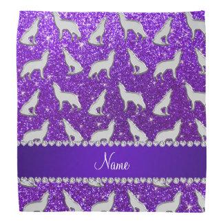 Custom name silver wolf indigo purple glitter bandana