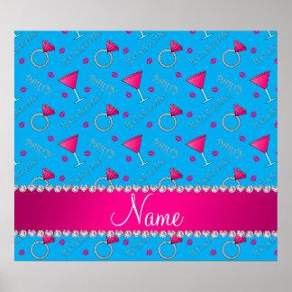 Custom name sky blue bachelorette cocktails rings poster