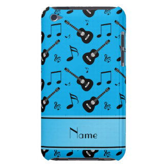 Custom name sky blue black guitars music notes barely there iPod covers