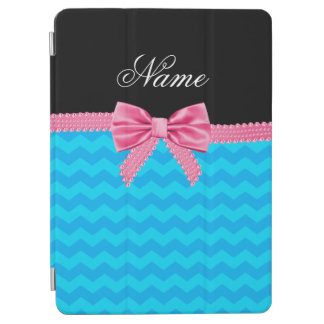 Custom name sky blue chevrons pink bow iPad air cover