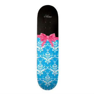 Custom name sky blue damask pink glitter bow skate decks