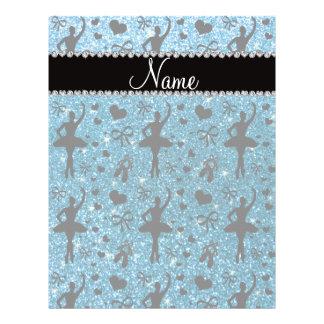 Custom name sky blue glitter ballerinas full color flyer