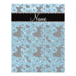 Custom name sky blue glitter ballroom dancing flyer design