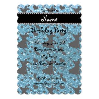 Custom name sky blue glitter ballroom dancing card