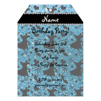 Custom name sky blue glitter ballroom dancing custom announcement card